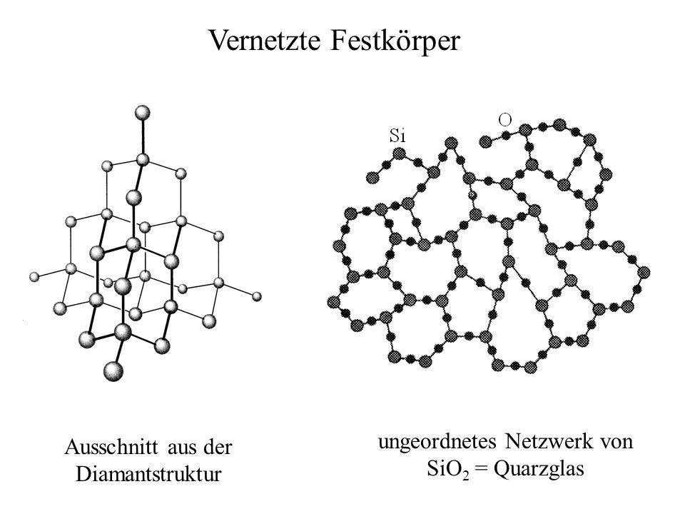 Vernetzte Festkörper Ausschnitt aus der Diamantstruktur ungeordnetes Netzwerk von SiO 2 = Quarzglas
