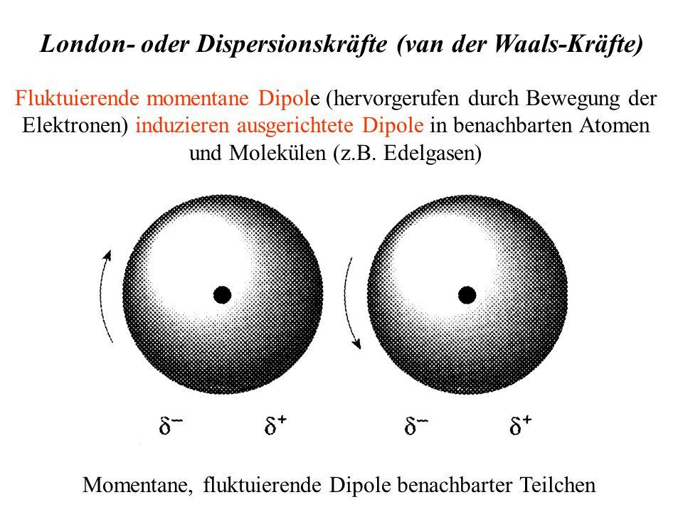 Fluktuierende momentane Dipole (hervorgerufen durch Bewegung der Elektronen) induzieren ausgerichtete Dipole in benachbarten Atomen und Molekülen (z.B.