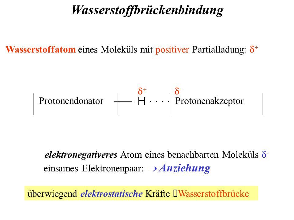 Wasserstoffbrückenbindung Wasserstoffatom eines Moleküls mit positiver Partialladung:  + ProtonendonatorProtonenakzeptor ++ -- elektronegativeres Atom eines benachbarten Moleküls  - einsames Elektronenpaar:  Anziehung überwiegend elektrostatische Kräfte  Wasserstoffbrücke