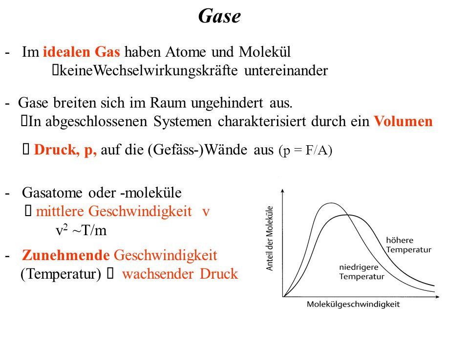 - Im idealen Gas haben Atome und Molekül  keineWechselwirkungskräfte untereinander Gase - Gase breiten sich im Raum ungehindert aus.