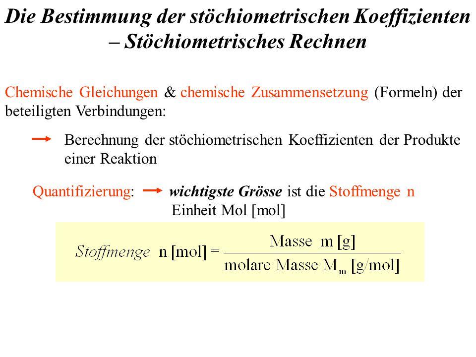 Die Bestimmung der stöchiometrischen Koeffizienten – Stöchiometrisches Rechnen Chemische Gleichungen & chemische Zusammensetzung (Formeln) der beteiligten Verbindungen: Berechnung der stöchiometrischen Koeffizienten der Produkte einer Reaktion Quantifizierung: wichtigste Grösse ist die Stoffmenge n Einheit Mol [mol]