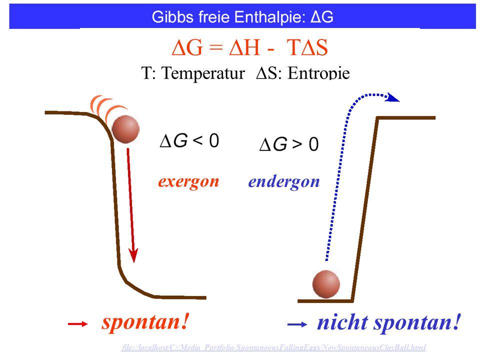 spontan. G =  H - T  S T: Temperatur  S: Entropie nicht spontan.
