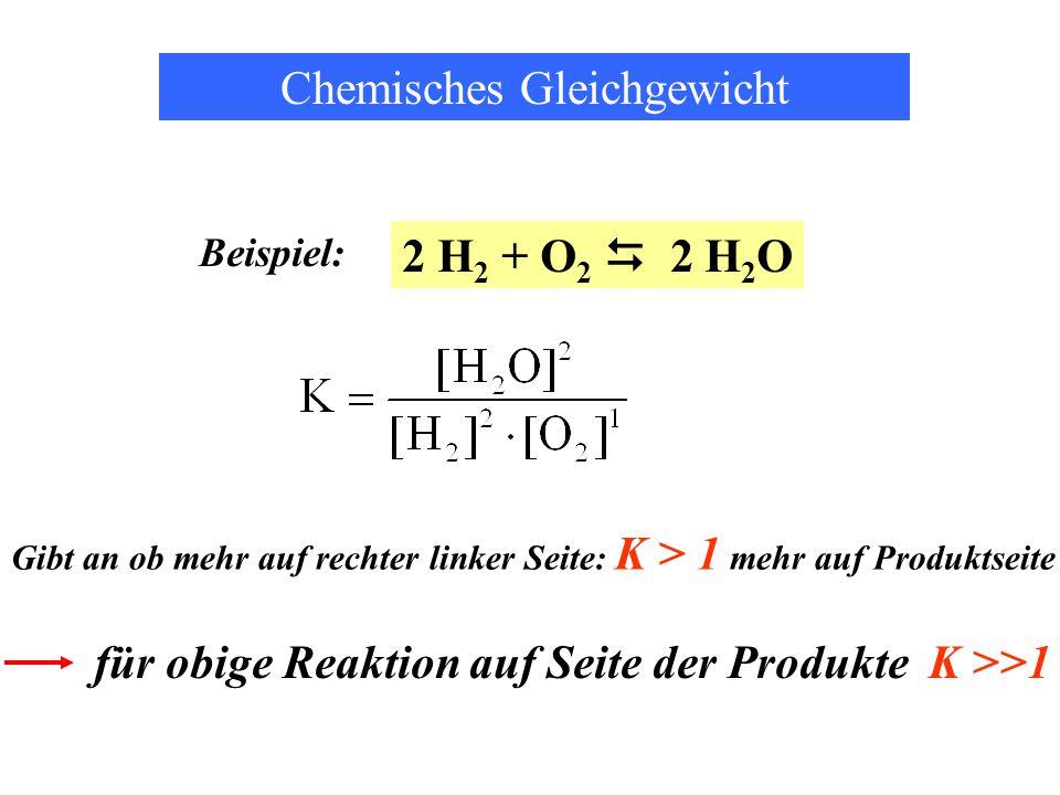2 H 2 + O 2  2 H 2 O Gibt an ob mehr auf rechter linker Seite: K > 1 mehr auf Produktseite Chemisches Gleichgewicht Beispiel: für obige Reaktion auf Seite der Produkte K >>1