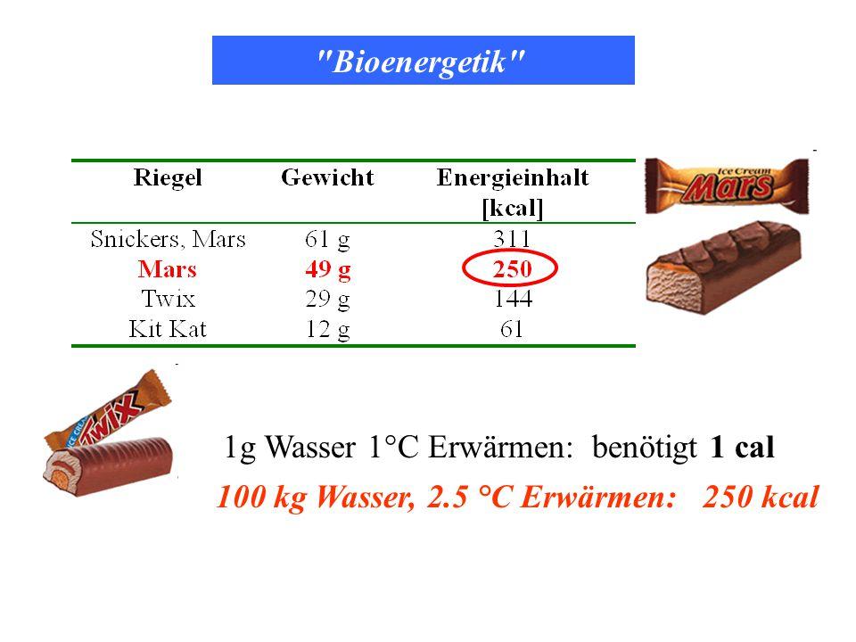 Bioenergetik 1g Wasser 1°C Erwärmen: benötigt 1 cal 100 kg Wasser, 2.5 °C Erwärmen: 250 kcal