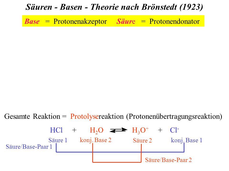 Säuren - Basen - Theorie nach Brönstedt (1923) Gesamte Reaktion = Protolysereaktion (Protonenübertragungsreaktion) HCl + H 2 O H 3 O + + Cl - Säure 1konj.