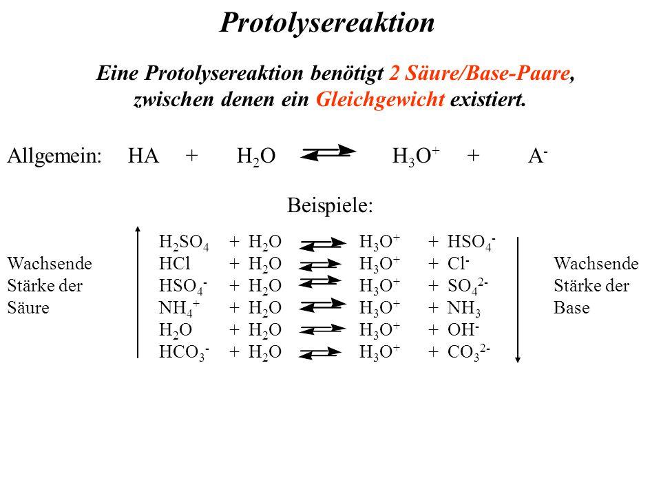 Protolysereaktion Allgemein: HA + H 2 O H 3 O + + A - Eine Protolysereaktion benötigt 2 Säure/Base-Paare, zwischen denen ein Gleichgewicht existiert.