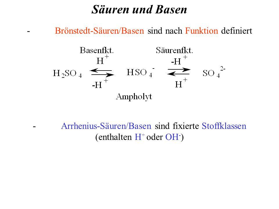 - Brönstedt-Säuren/Basen sind nach Funktion definiert - Arrhenius-Säuren/Basen sind fixierte Stoffklassen (enthalten H + oder OH - ) Säuren und Basen