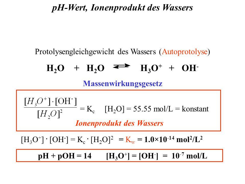 pH-Wert, Ionenprodukt des Wassers Protolysengleichgewicht des Wassers (Autoprotolyse) H 2 O + H 2 O H 3 O + + OH - Massenwirkungsgesetz = K c [H 2 O] = 55.55 mol/L = konstant Ionenprodukt des Wassers [H 3 O + ].