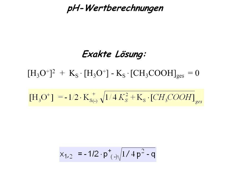 pH-Wertberechnungen [H 3 O + ] 2 + K S   H 3 O + ] - K S   CH 3 COOH] ges = 0 Exakte Lösung: Quadratische Gleichung: x 2 + px + q = 0 Ks =Ks =