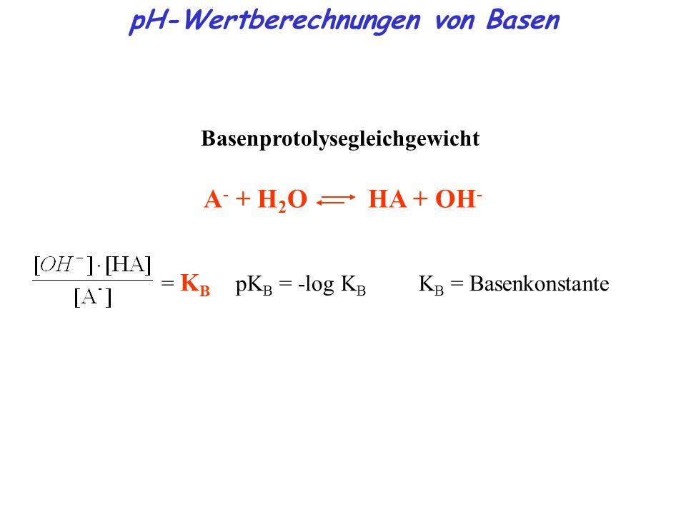 pH-Wertberechnungen von Basen Basenprotolysegleichgewicht A - + H 2 O HA + OH - = K B pK B = -log K B K B = Basenkonstante