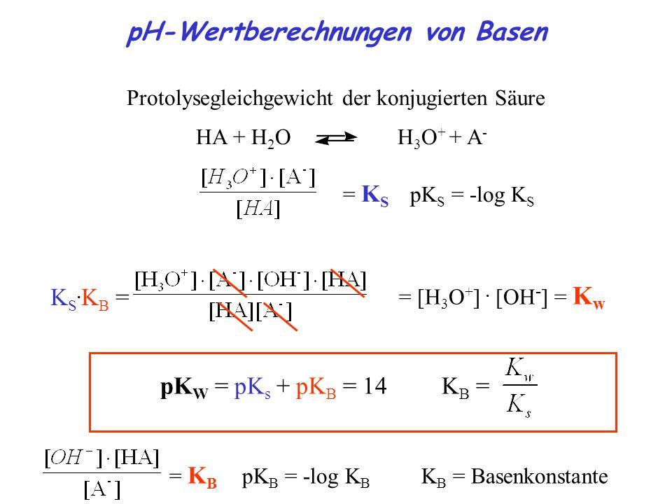 pH-Wertberechnungen von Basen Protolysegleichgewicht der konjugierten Säure HA + H 2 O H 3 O + + A - = K S pK S = -log K S K S.