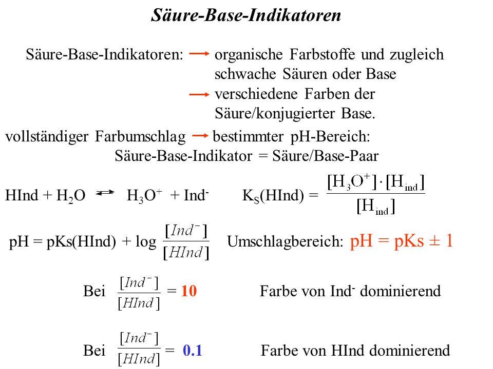 Säure-Base-Indikatoren Säure-Base-Indikatoren: organische Farbstoffe und zugleich schwache Säuren oder Base verschiedene Farben der Säure/konjugierter Base.