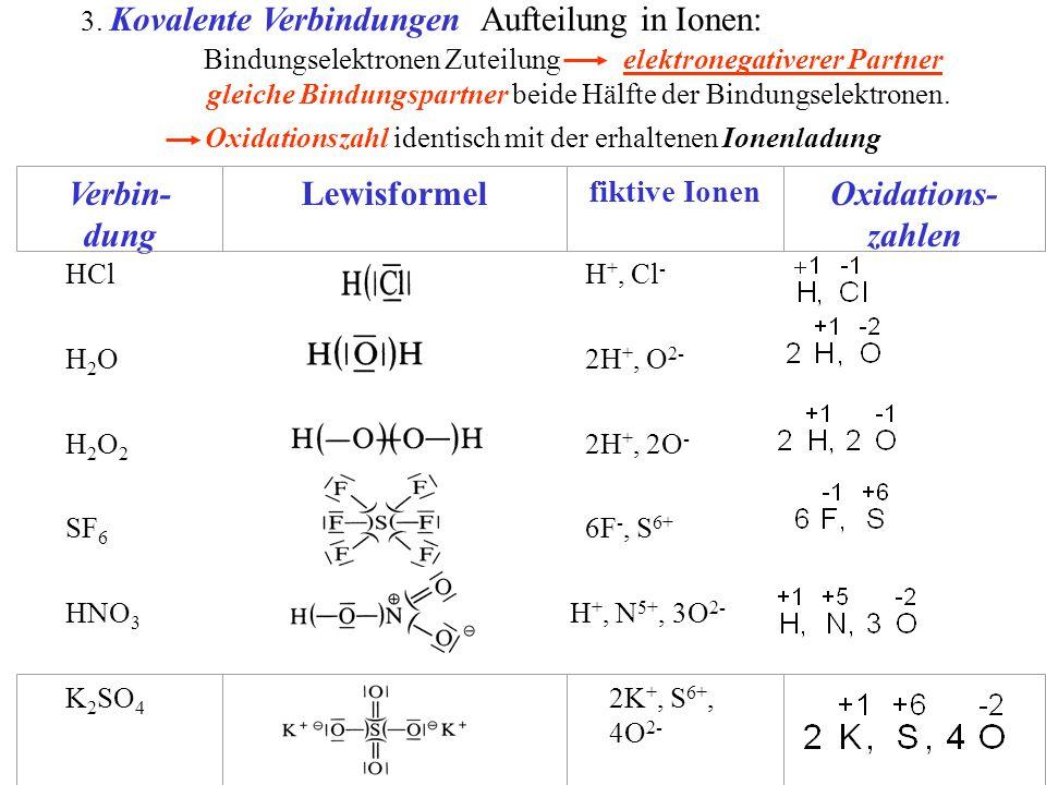 3. Kovalente Verbindungen Aufteilung in Ionen: Oxidationszahl identisch mit der erhaltenen Ionenladung HCl H +, Cl - H2OH2O 2H +, O 2- H2O2H2O2 2H +,