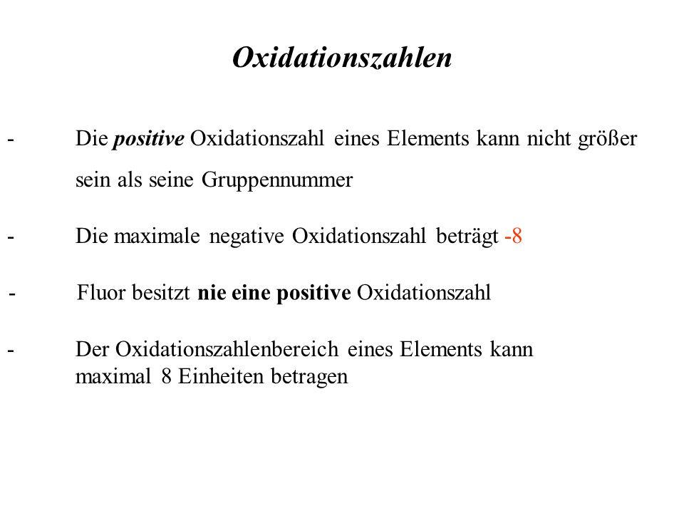 - Die positive Oxidationszahl eines Elements kann nicht größer sein als seine Gruppennummer Oxidationszahlen - Der Oxidationszahlenbereich eines Elements kann maximal 8 Einheiten betragen -Die maximale negative Oxidationszahl beträgt -8 -Fluor besitzt nie eine positive Oxidationszahl
