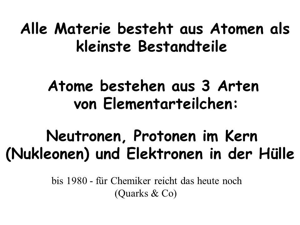 Neutronen, Protonen im Kern (Nukleonen) und Elektronen in der Hülle Alle Materie besteht aus Atomen als kleinste Bestandteile bis 1980 - für Chemiker reicht das heute noch (Quarks & Co) Atome bestehen aus 3 Arten von Elementarteilchen: