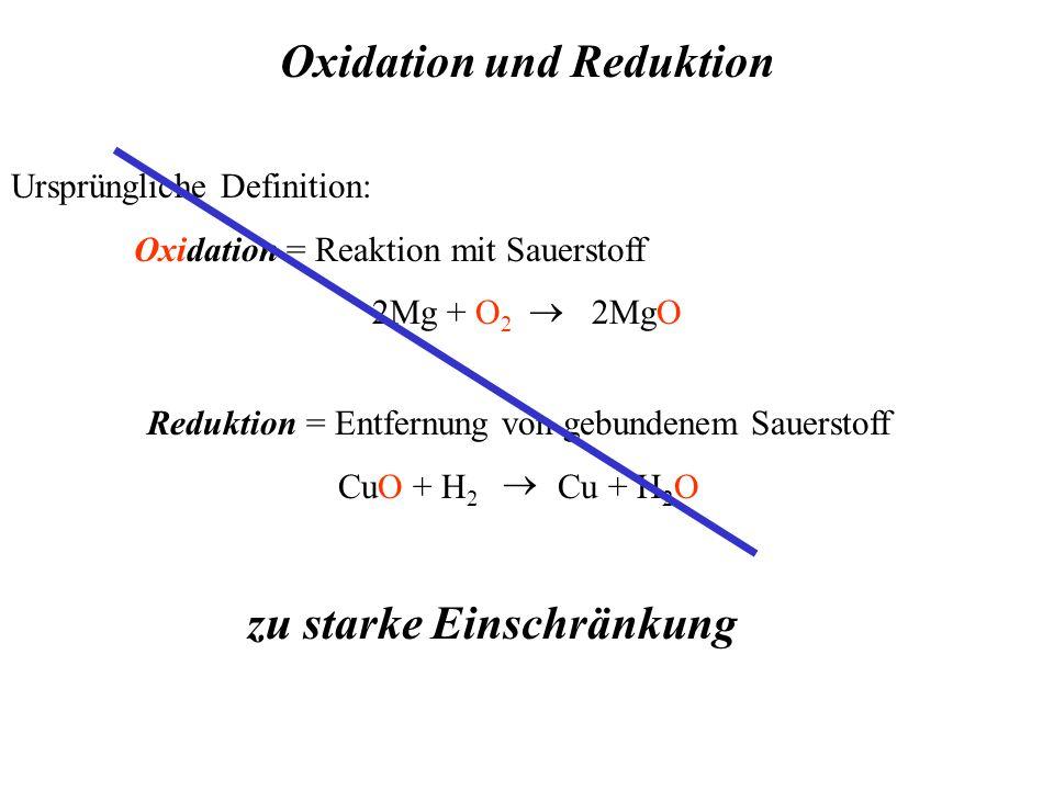 Oxidation und Reduktion Ursprüngliche Definition: Oxidation = Reaktion mit Sauerstoff 2Mg + O 2 2MgO   Reduktion = Entfernung von gebundenem Sauerstoff CuO + H 2 Cu + H 2 O zu starke Einschränkung