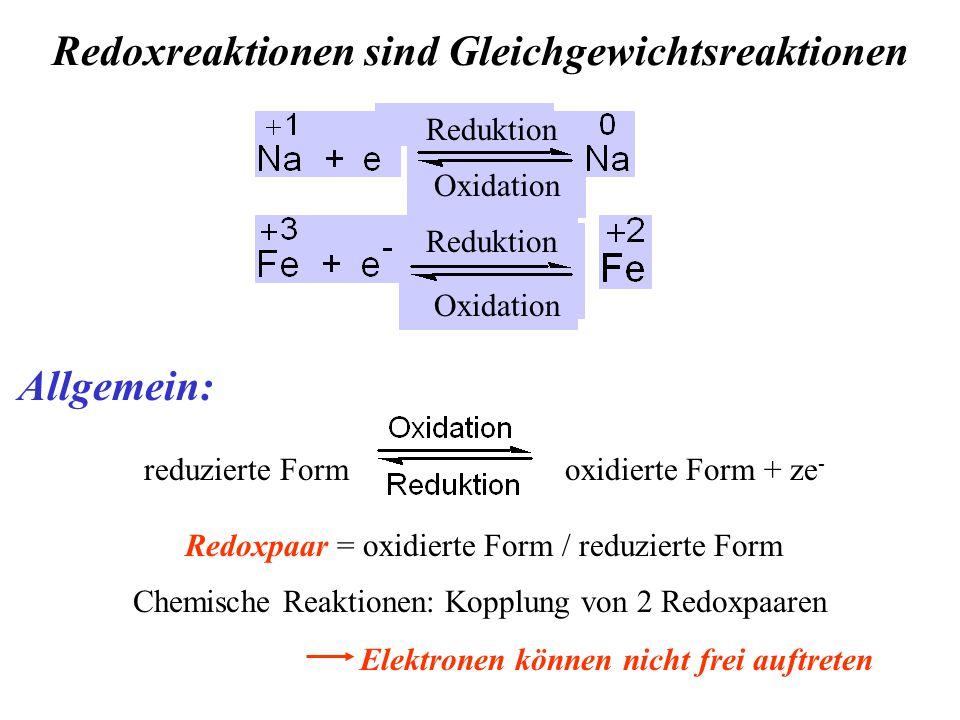 Redoxreaktionen sind Gleichgewichtsreaktionen Allgemein: reduzierte Form oxidierte Form + ze - Redoxpaar = oxidierte Form / reduzierte Form Chemische Reaktionen: Kopplung von 2 Redoxpaaren Elektronen können nicht frei auftreten Reduktion Oxidation Reduktion Oxidation