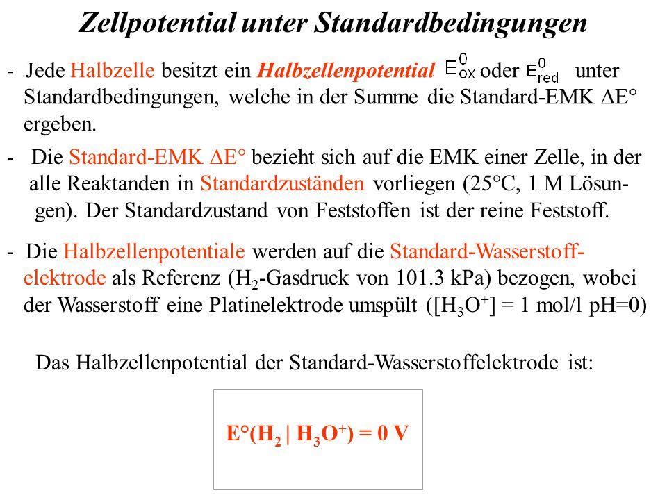 Zellpotential unter Standardbedingungen - Jede Halbzelle besitzt ein Halbzellenpotential oder unter Standardbedingungen, welche in der Summe die Standard-EMK  E° ergeben.
