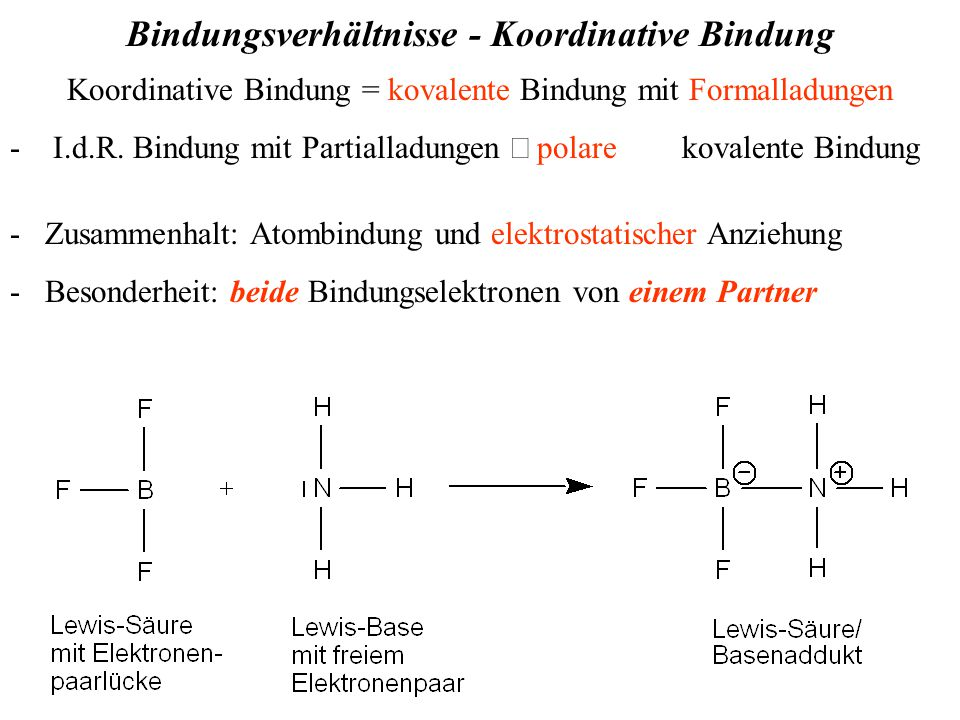 Bindungsverhältnisse - Koordinative Bindung Koordinative Bindung = kovalente Bindung mit Formalladungen - I.d.R.