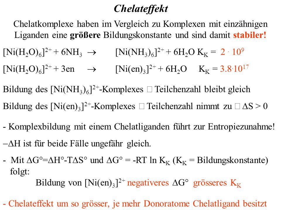 Chelateffekt Chelatkomplexe haben im Vergleich zu Komplexen mit einzähnigen Liganden eine größere Bildungskonstante und sind damit stabiler.