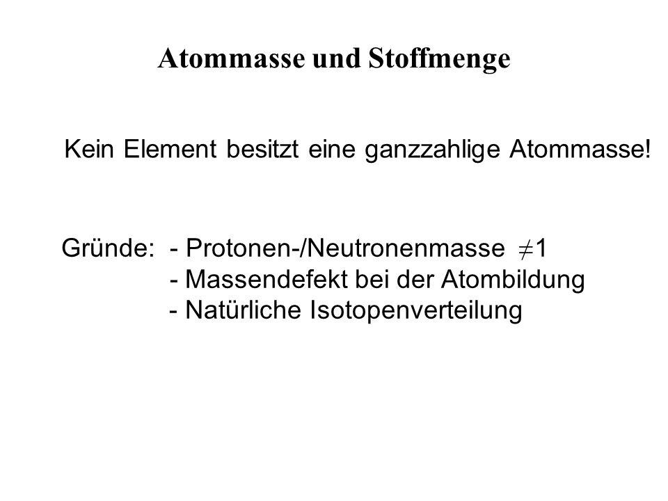Kein Element besitzt eine ganzzahlige Atommasse.