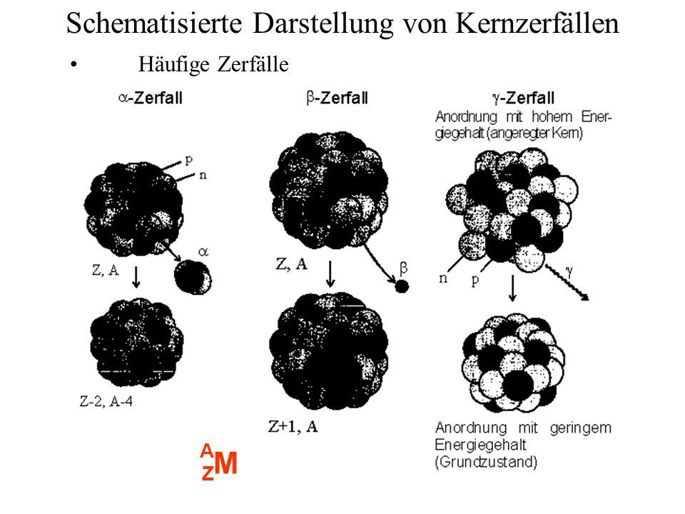 Schematisierte Darstellung von Kernzerfällen Häufige Zerfälle M A Z