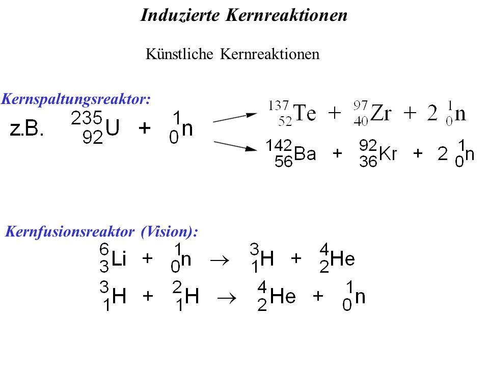 Induzierte Kernreaktionen Kernfusionsreaktor (Vision): Künstliche Kernreaktionen Kernspaltungsreaktor: