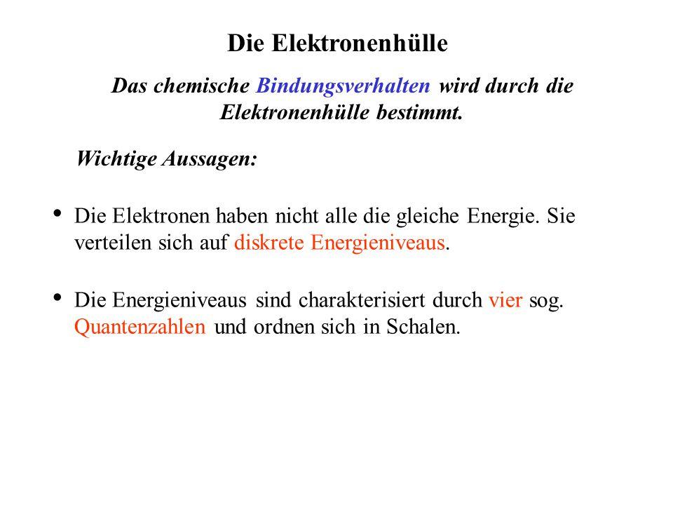 Die Elektronenhülle Das chemische Bindungsverhalten wird durch die Elektronenhülle bestimmt.