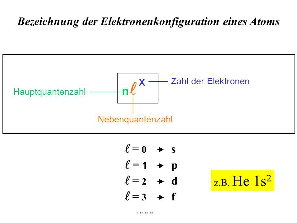 Bezeichnung der Elektronenkonfiguration eines Atoms Zahl der Elektronen Hauptquantenzahl x n Nebenquantenzahl = 0  s  = 1  p = 2  d = 3  f.......