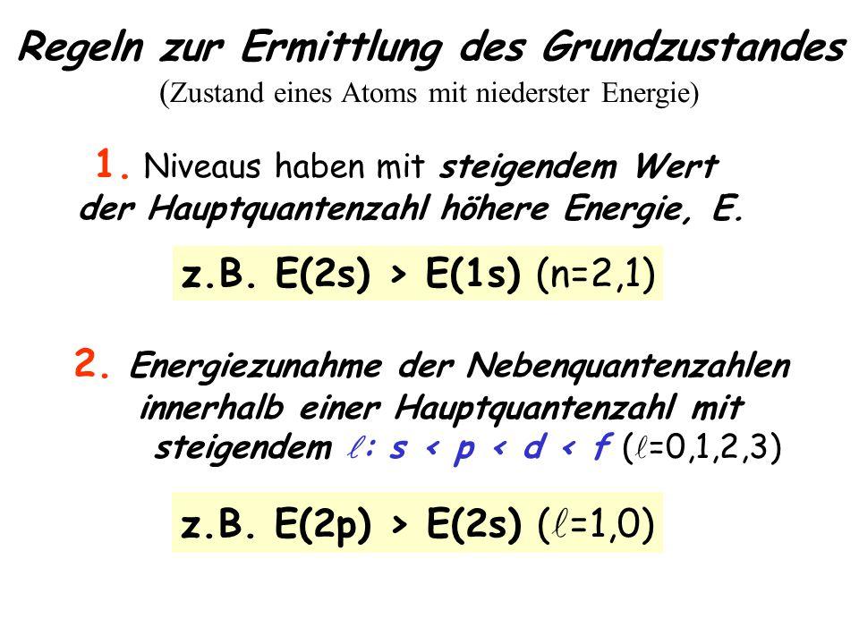 Regeln zur Ermittlung des Grundzustandes ( Zustand eines Atoms mit niederster Energie) 1.