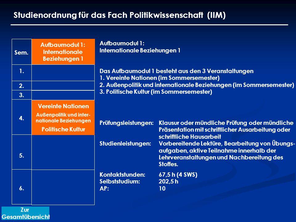 Studienordnung für das Fach Politikwissenschaft (IIM) Aufbaumodul 1: Internationale Beziehungen 1 Das Aufbaumodul 1 besteht aus den 3 Veranstaltungen 1.