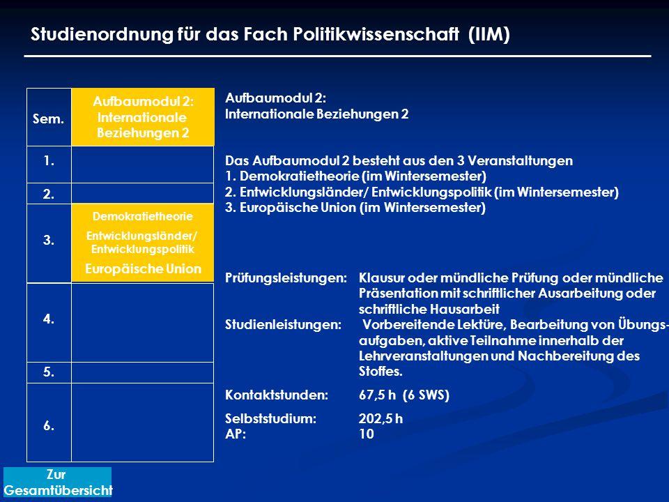 Demokratietheorie Studienordnung für das Fach Politikwissenschaft (IIM) Aufbaumodul 2: Internationale Beziehungen 2 Das Aufbaumodul 2 besteht aus den 3 Veranstaltungen 1.