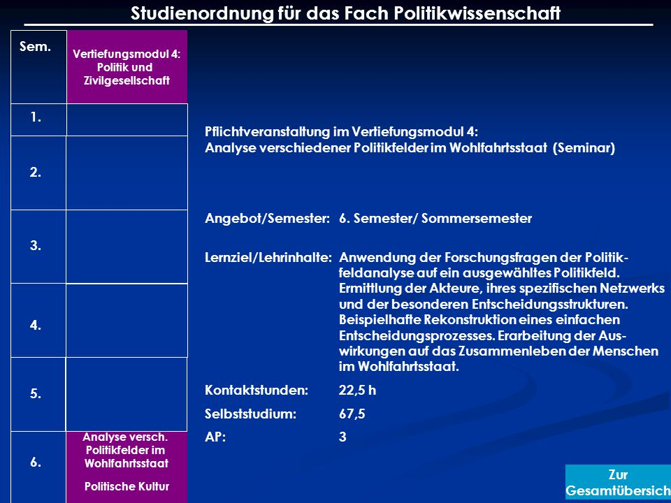 Vertiefungsmodul 4: Politik und Zivilgesellschaft Analyse versch.
