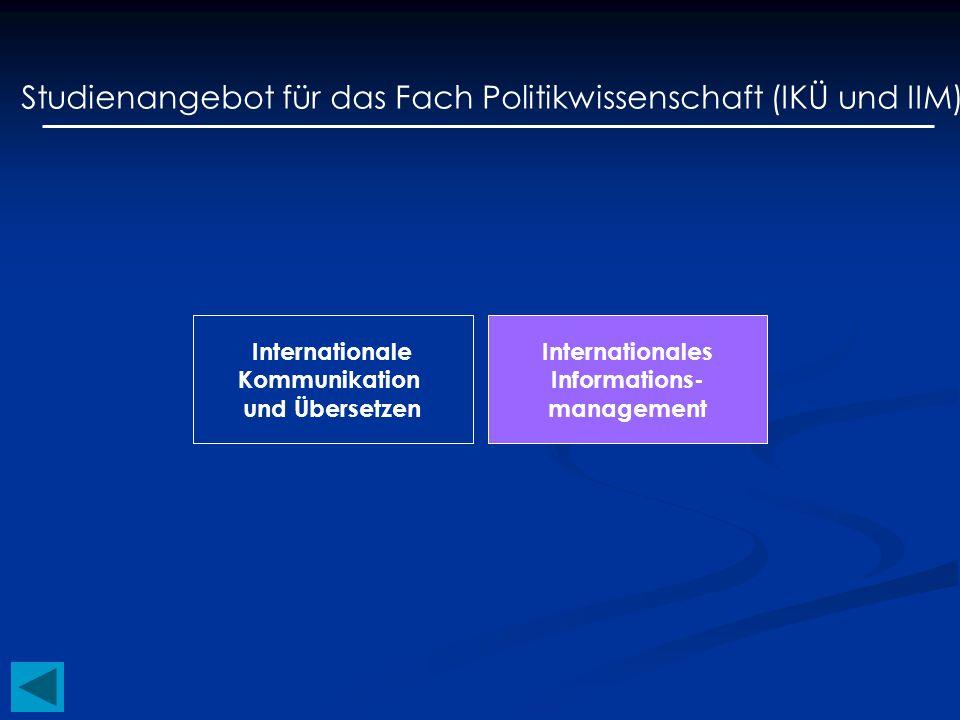 Studienangebot für das Fach Politikwissenschaft (IKÜ und IIM) Internationale Kommunikation und Übersetzen Internationales Informations- management
