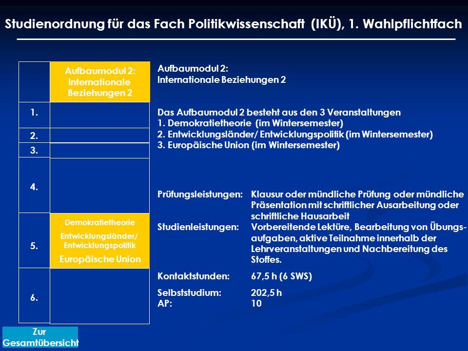 Aufbaumodul 2: Internationale Beziehungen 2 Das Aufbaumodul 2 besteht aus den 3 Veranstaltungen 1.