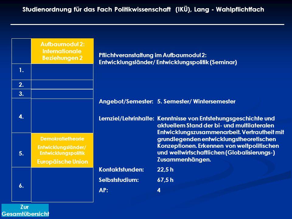 Aufbaumodul 2: Internationale Beziehungen 2 Demokratietheorie Entwicklungsländer/ Entwicklungspolitik Europäische Union Pflichtveranstaltung im Aufbaumodul 2: Entwicklungsländer/ Entwicklungspolitik (Seminar) Angebot/Semester: 5.