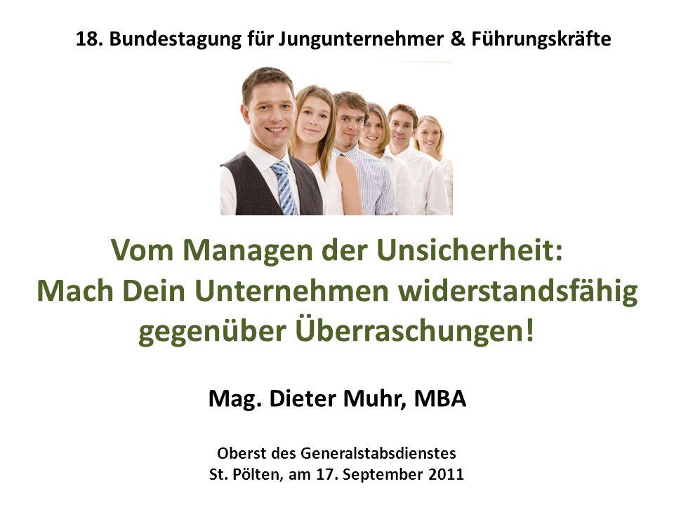 Vom Managen der Unsicherheit: Mach Dein Unternehmen widerstandsfähig gegenüber Überraschungen! Mag. Dieter Muhr, MBA Oberst des Generalstabsdienstes S