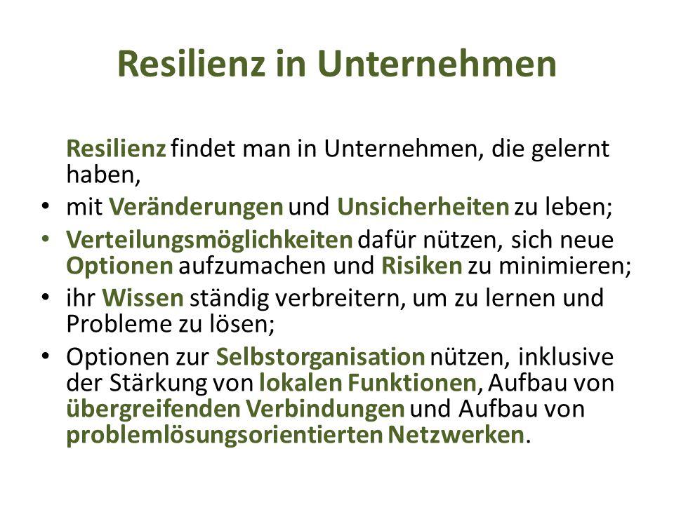 Resilienz in Unternehmen Resilienz findet man in Unternehmen, die gelernt haben, mit Veränderungen und Unsicherheiten zu leben; Verteilungsmöglichkeit