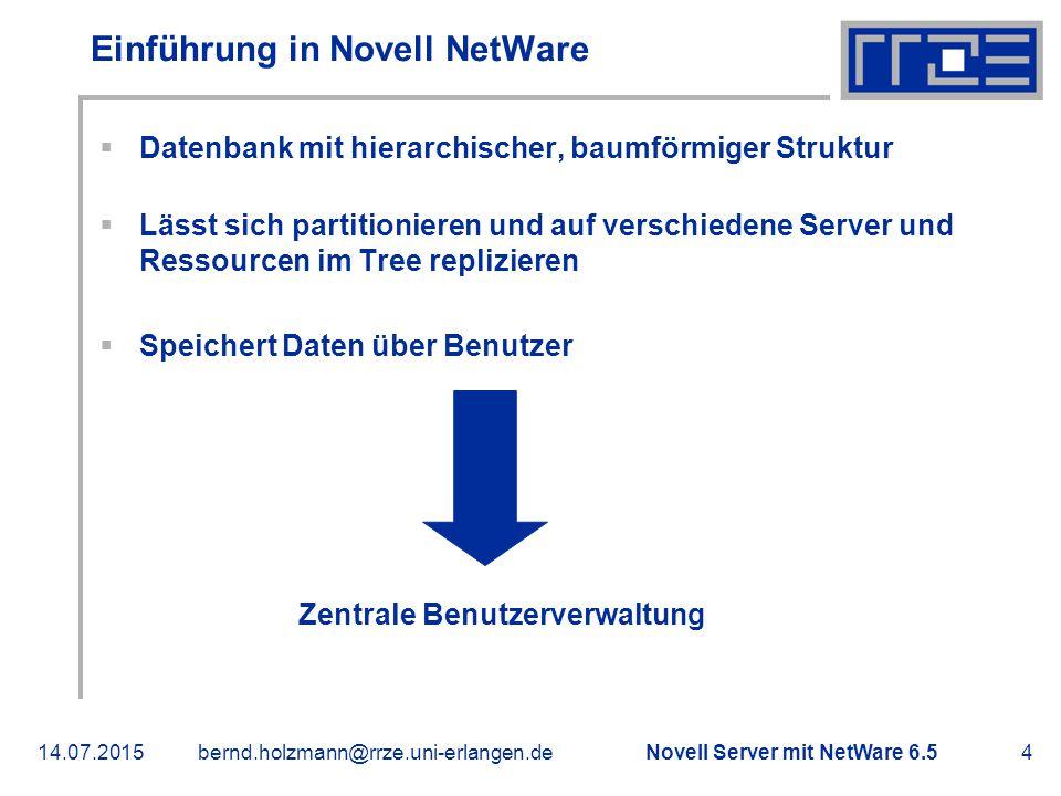 Novell Server mit NetWare 6.514.07.2015bernd.holzmann@rrze.uni-erlangen.de5 Installation von NetWare 6.5  500 MB große DOS Partition > Bootpartition  4 000 MB großes SYS Volume  Komponenten auswählen:  Apache 2 Web Server und Tomcat 4 Servlet Container  iPrint (Internet Printing Protocol und NDPS, Installation via Browser)  eDirectory SNMP Subagent (erlaubt SNMP Überwachung)  OpenSSH (Befehlszeile und Filetransfer verschlüsselt)  eGuide (Browserzugriff auf eDirectory)  Novell iManager 2.0 (Web-basierende Verwaltung, Nachfolger von ConsoleOne)