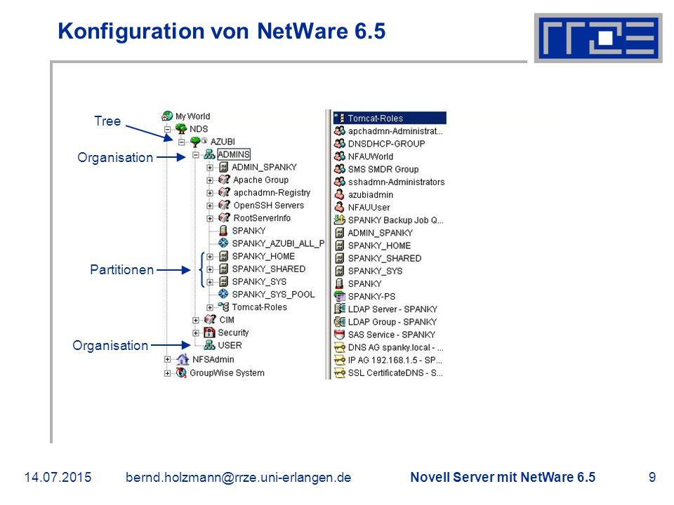 """Novell Server mit NetWare 6.514.07.2015bernd.holzmann@rrze.uni-erlangen.de10 Konfiguration von NetWare 6.5  Gruppe """"USER in Organisation """"USER angelegt  Gruppe """"USER Rechte auf """"SHARED und """"HOME geben  Vergleichen  Lesen  Schreiben  Durchsuchen  Umbenennen  Löschen"""