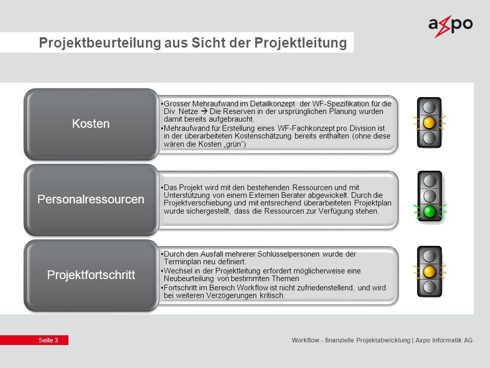 Seite 3 Projektbeurteilung aus Sicht der Projektleitung Workflow - finanzielle Projektabwicklung | Axpo Informatik AG Grosser Mehraufwand im Detailkon