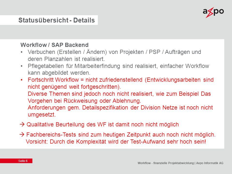 Seite 6 Statusübersicht - Details Workflow / SAP Backend Verbuchen (Erstellen / Ändern) von Projekten / PSP / Aufträgen und deren Planzahlen ist reali