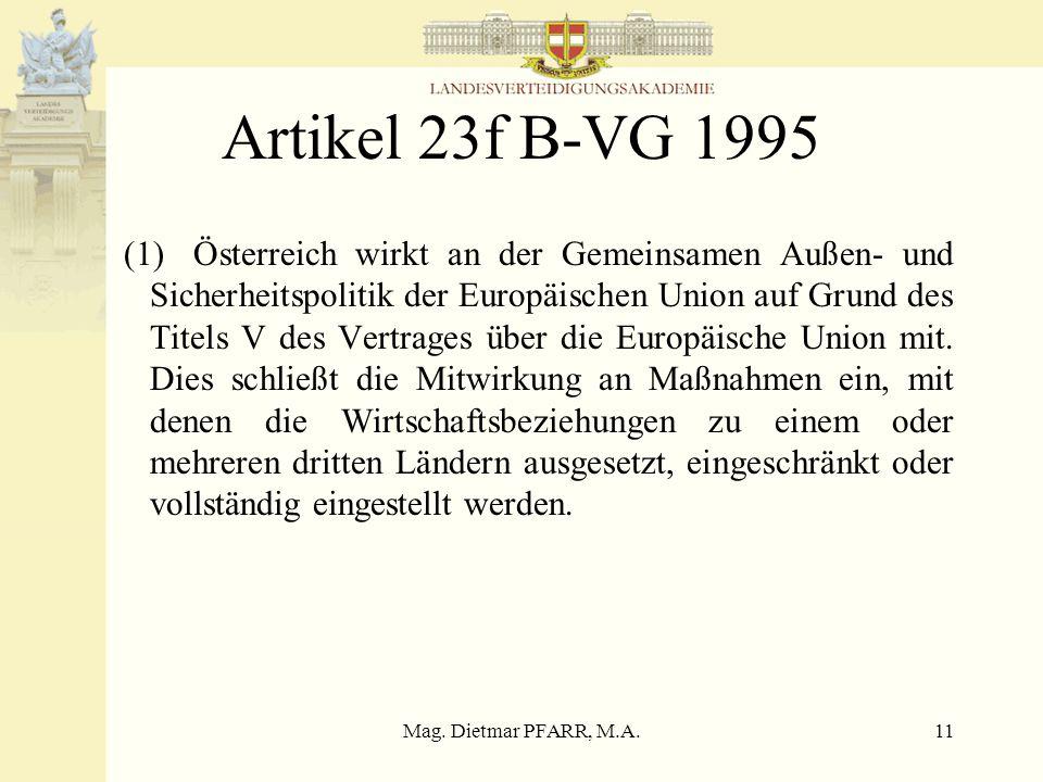 """Mag. Dietmar PFARR, M.A.10 Regierungsprogramm 1994 Kein eigener Punkt """"Europa"""" sondern Unterpunkt im Bereich Sicherheit –Zuständigkeitsfragen und poli"""