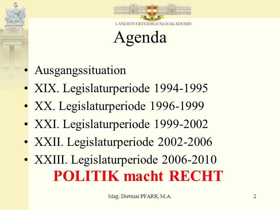 Mag. Dietmar PFARR, M.A.1 Die Europäisierung der österreichischen Sicherheitspolitik Regierungsprogramme im Vergleich Innsbruck 22. März 2007