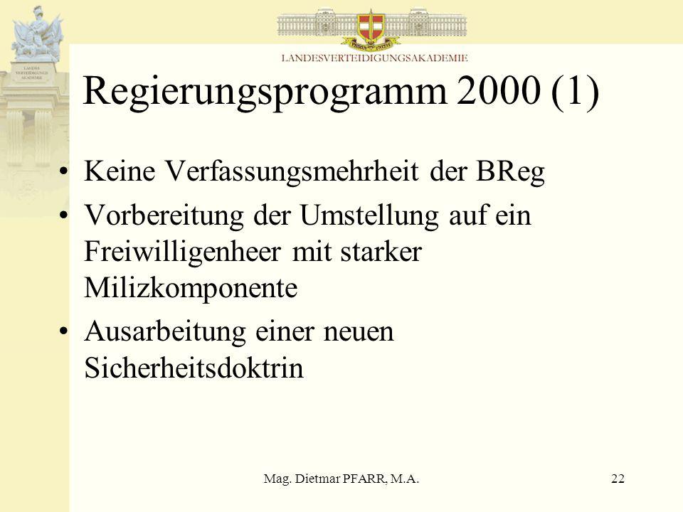 Mag. Dietmar PFARR, M.A.21 XXI Legislaturperiode 1999-2002 Regierungsprogramm Experkom Sicherheits- und Verteidigungsdoktrin Nationaler Sicherheitsrat
