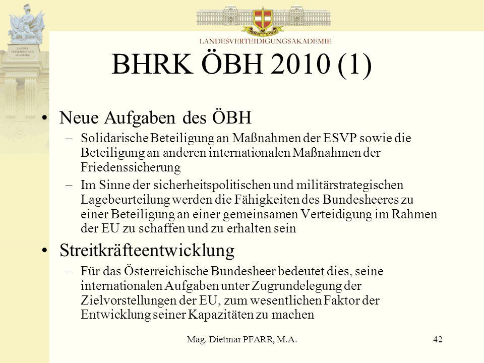Mag. Dietmar PFARR, M.A.41 EU-Verfassung Artikel I-41 (7) Im Fallen eines bewaffneten Angriffes auf das Hoheitsgebiet eines Mitgliedstaates müssen die