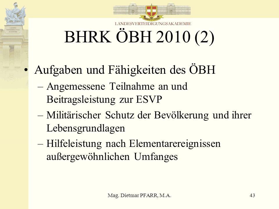 Mag. Dietmar PFARR, M.A.42 BHRK ÖBH 2010 (1) Neue Aufgaben des ÖBH –Solidarische Beteiligung an Maßnahmen der ESVP sowie die Beteiligung an anderen in