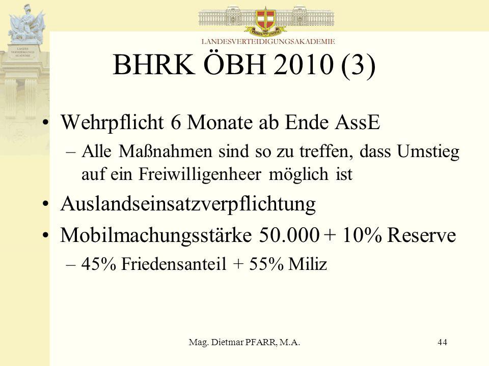 Mag. Dietmar PFARR, M.A.43 BHRK ÖBH 2010 (2) Aufgaben und Fähigkeiten des ÖBH –Angemessene Teilnahme an und Beitragsleistung zur ESVP –Militärischer S