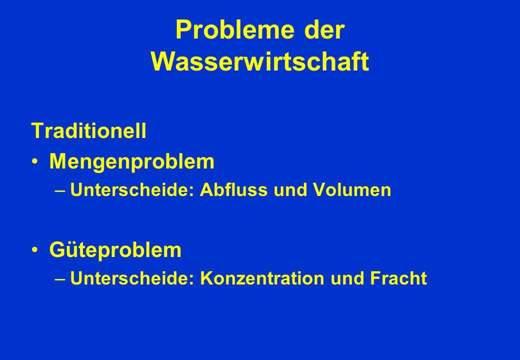 Probleme der Wasserwirtschaft Traditionell Mengenproblem –Unterscheide: Abfluss und Volumen Güteproblem –Unterscheide: Konzentration und Fracht