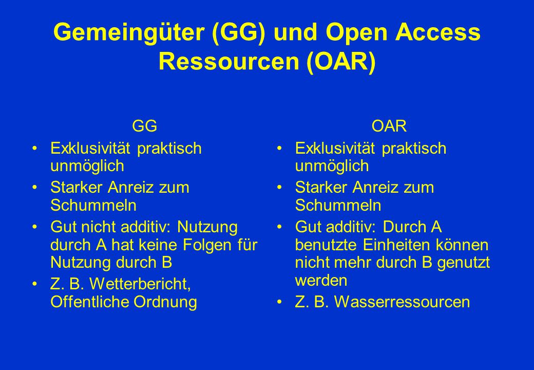 Gemeingüter (GG) und Open Access Ressourcen (OAR) GG Exklusivität praktisch unmöglich Starker Anreiz zum Schummeln Gut nicht additiv: Nutzung durch A